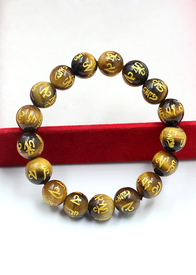 Vòng Tay Đá Mắt Hổ Vàng Khắc Kinh Phật Chữ Vàng 10MM