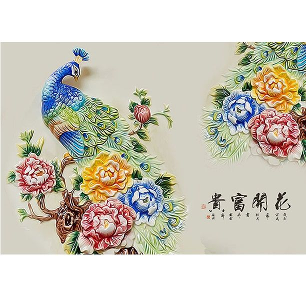 Tranh dán tường 3D vải lụa cao cấp hình chim công Khổng Tước và hoa - KT - 2151561 , 3380716707132 , 62_13740349 , 600000 , Tranh-dan-tuong-3D-vai-lua-cao-cap-hinh-chim-cong-Khong-Tuoc-va-hoa-KT-62_13740349 , tiki.vn , Tranh dán tường 3D vải lụa cao cấp hình chim công Khổng Tước và hoa - KT