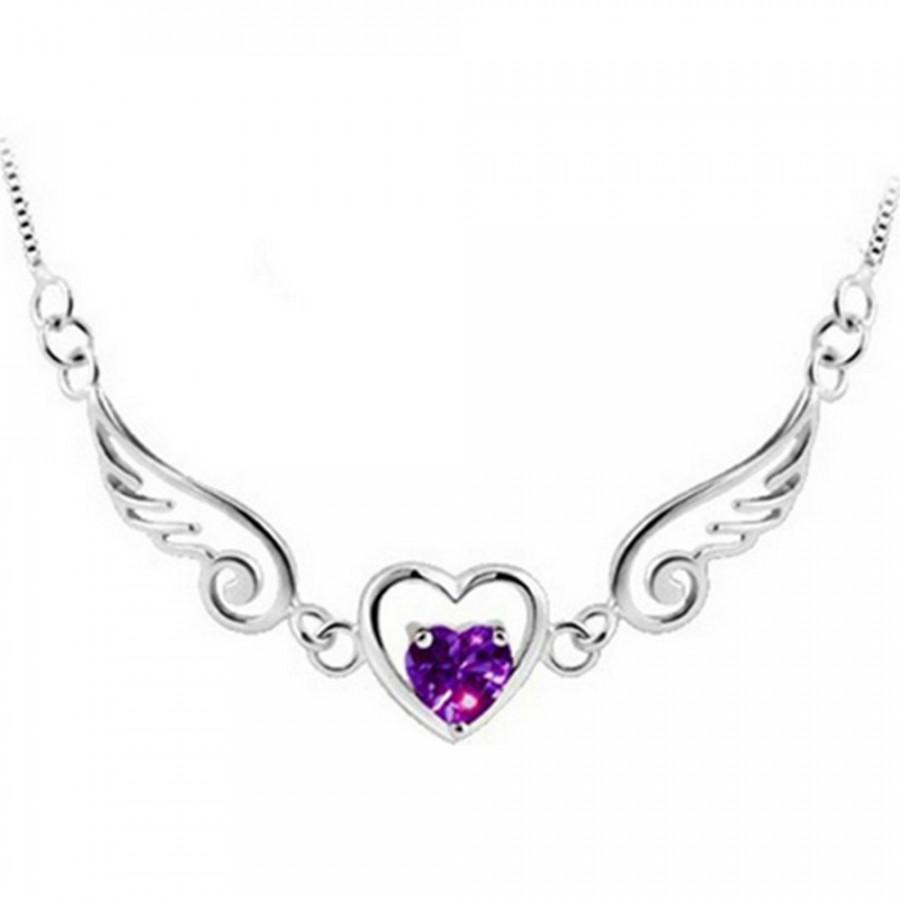 Women Fashion Love Wings Pendant Chain Necklace Jewelry Dream Angel Rhinestone