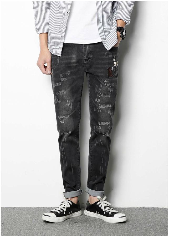 Quần jeans rách thêu hình chó Mã: ND1060
