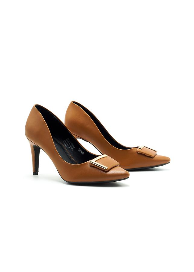 Giày Cao Gót Lamanda 7cm Đính Khóa L Estella Màu Nâu