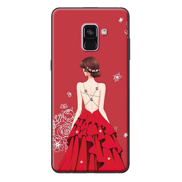 Ốp Lưng Dành Cho Samsung A8 Plus - Mẫu Cô Gái Váy Đỏ Áo Dây