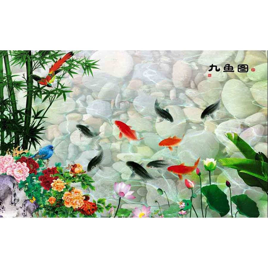 Tranh dán tường 3d | Tranh dán tường phong thủy hoa sen cá chép 3d 344
