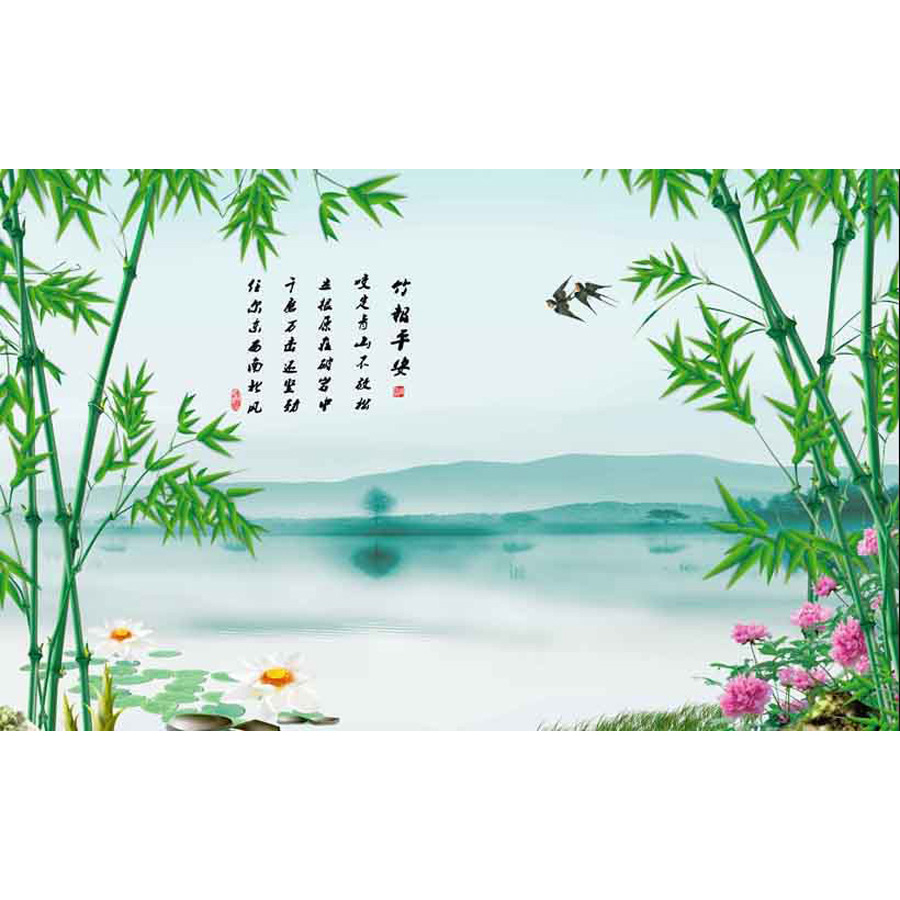 Tranh dán tường 3d | Tranh dán tường phong thủy hoa sen cá chép 3d 343