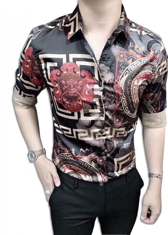 Áo Sơ Mi Nam Vải Lụa Họa Tiết 3D