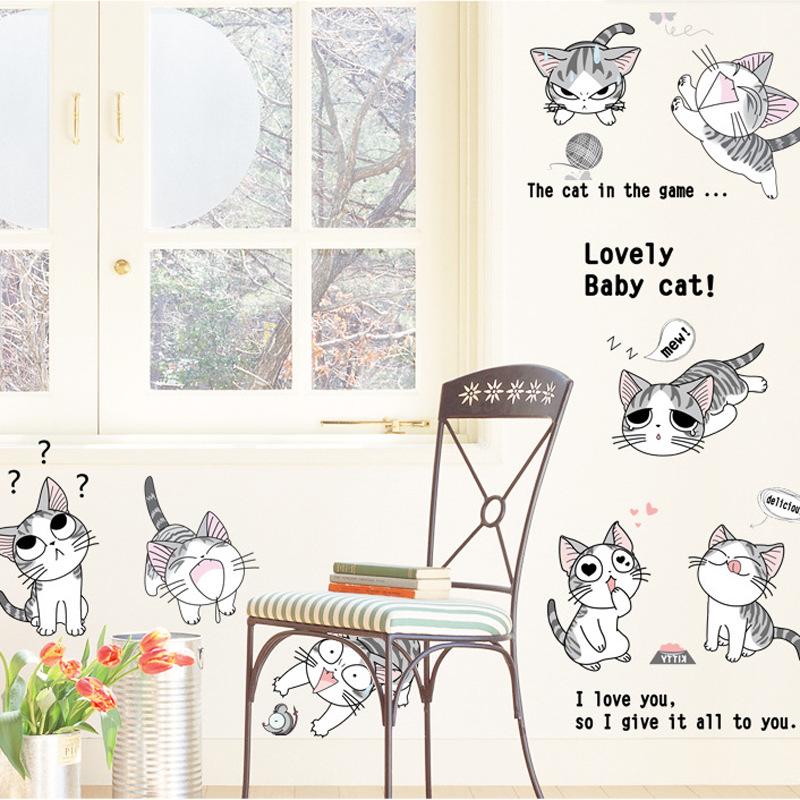 Decal dán tường những chú mèo đáng yêu cho bé Love baby Cat AM0728