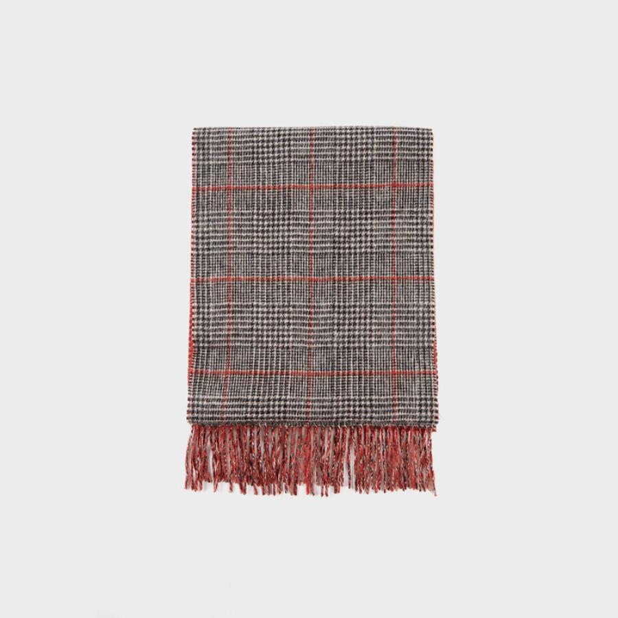 HLA Haishu House Scarf Men 2018 Winter New Classic Fashion Plaid Warm Bib HZDAJ4E001A Medium Gray Plaid (01)180CM×33CM
