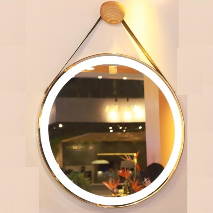 Gương Tròn  Đèn Led Cảm ứng công nghệ thông minh kết hợp với viền da siêu bền đường kính 50