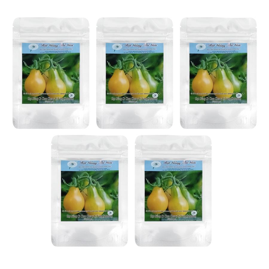 Bộ 5 túi Hạt Giống Cà Chua Cherry Lê Vàng (Solanum lycopersicum) - (30 hạt / túi)