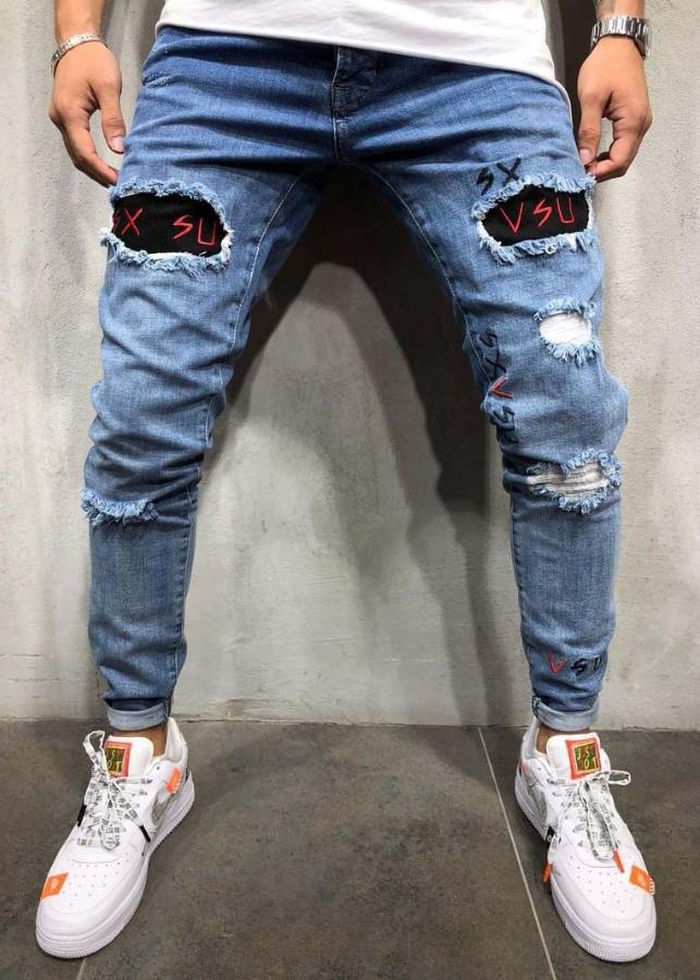 Quần jeans nam rách chữ vsu Mã: ND1443