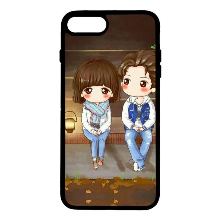 Ốp lưng dành cho điện thoại Iphone 8 Plus Anime Cặp Đôi Ngồi