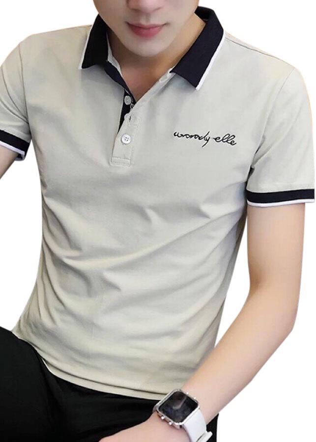áo thun nam có cổ xám viền đen chữ kí
