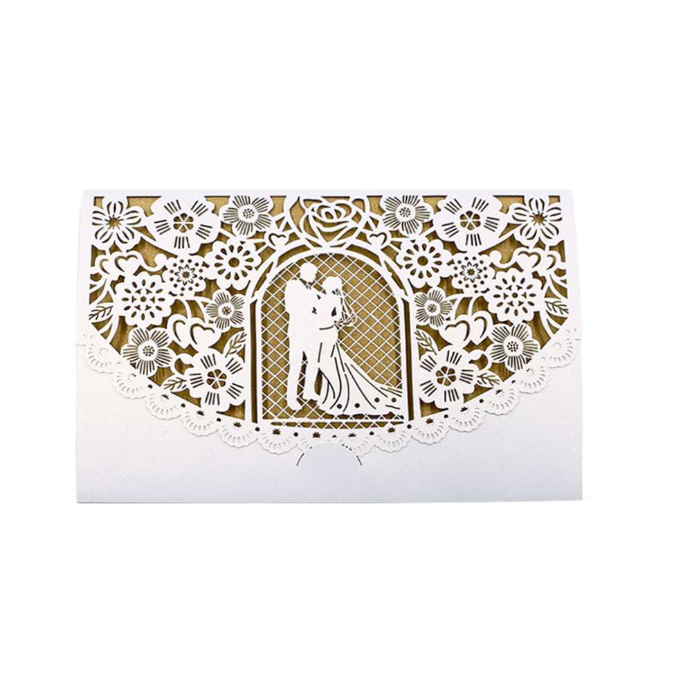 10pcs Pearl Paper Floral Invitation Cards Invitation Holders for Wedding Birthday Party Anniversary