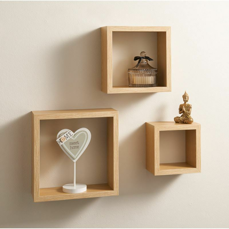Bộ kệ treo tường hình vuông, 3 kích thước, làm bằng 100% gỗ tự nhiên