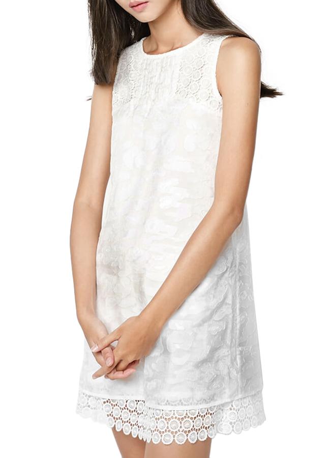 Đầm Voan Kính Phối Ren Hanali - Trắng