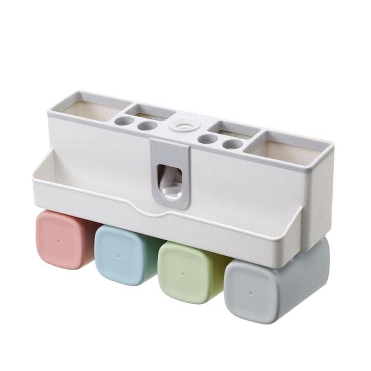 Dụng cụ nhả kem đánh răng thông minh treo tường  kèm 4 cốc GS0075