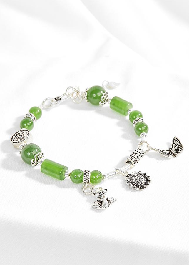 Vòng ngọc bích phối charm hồ ly bạc Ngọc Quý Gemstones