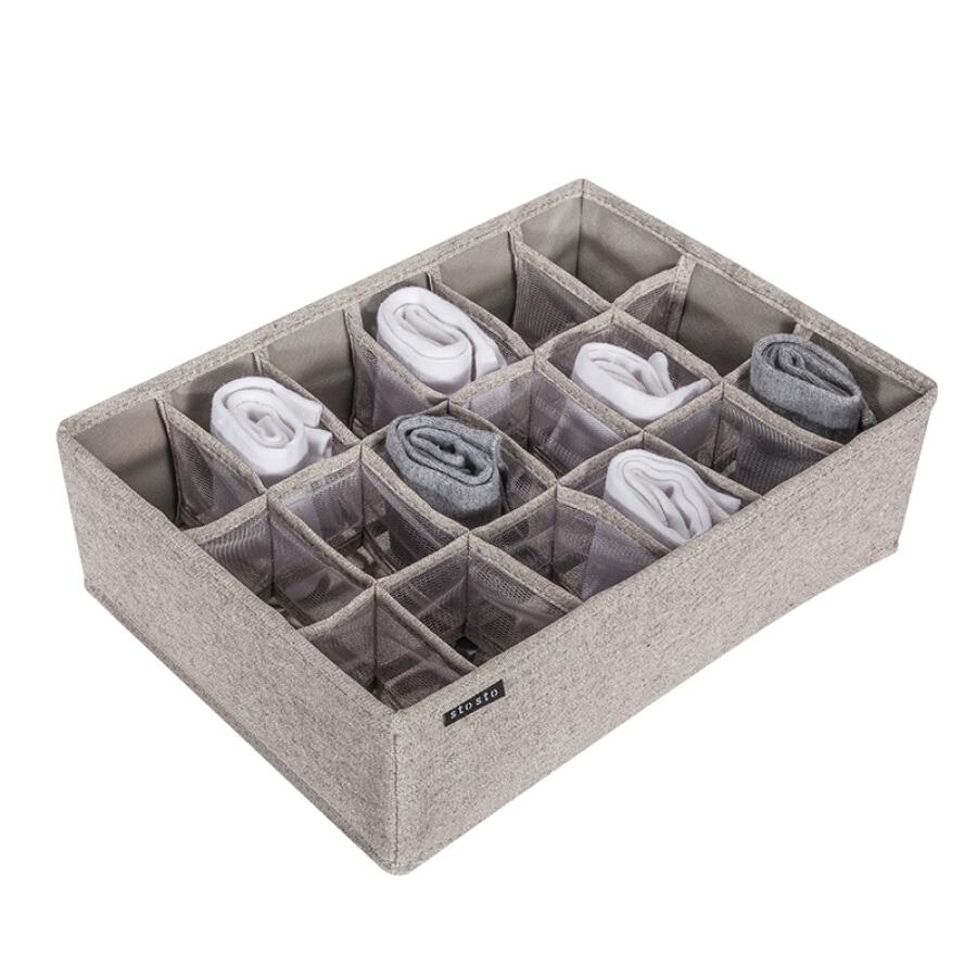 Finishing life underwear storage box underwear fabric finishing box household drawer storage box socks storage 18 grid