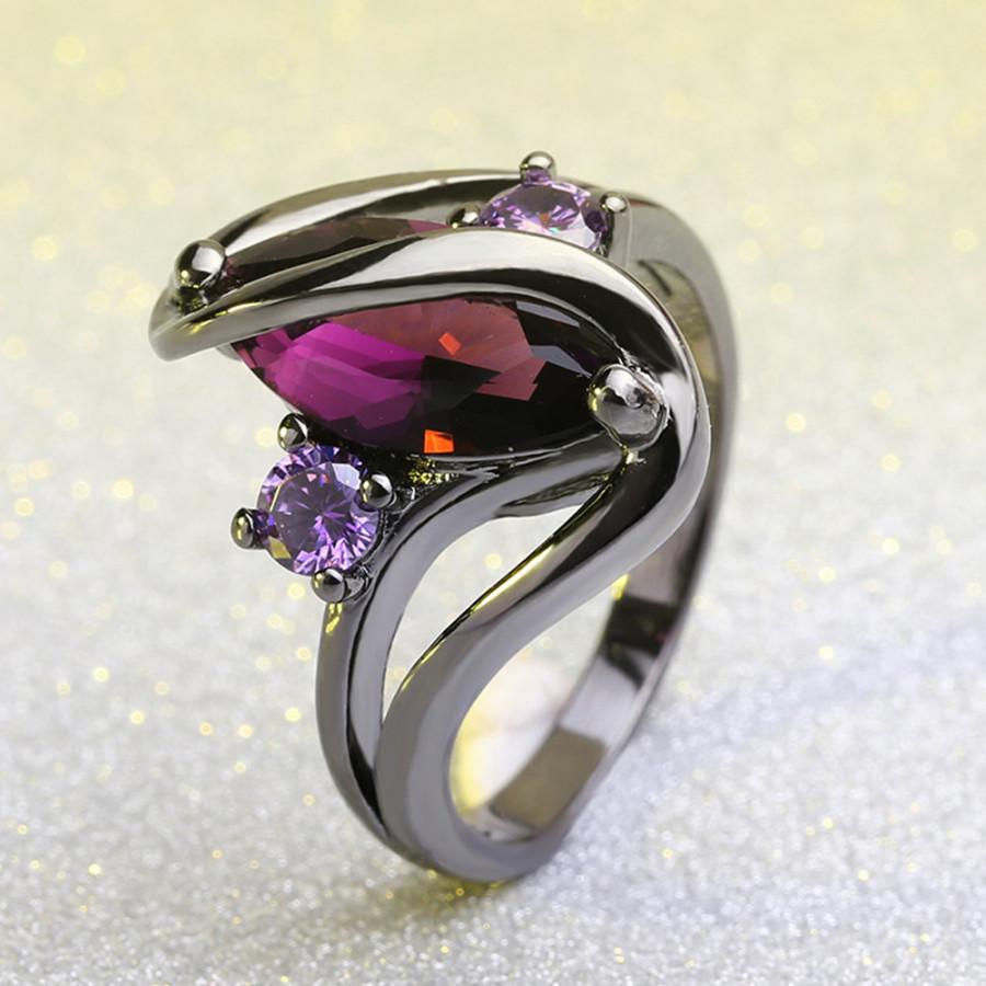European Romantic Popular Sapphire Rings Black Gold Plated Diamond Ring Fashion Jewelry Accessories - Size 5