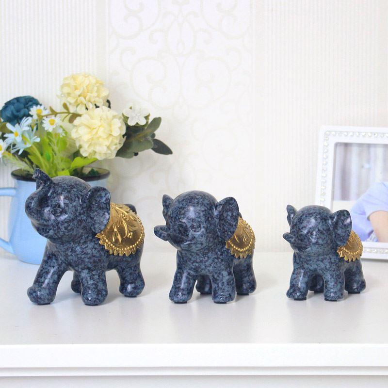 Bộ voi gia đình 3 con màu xanh lam