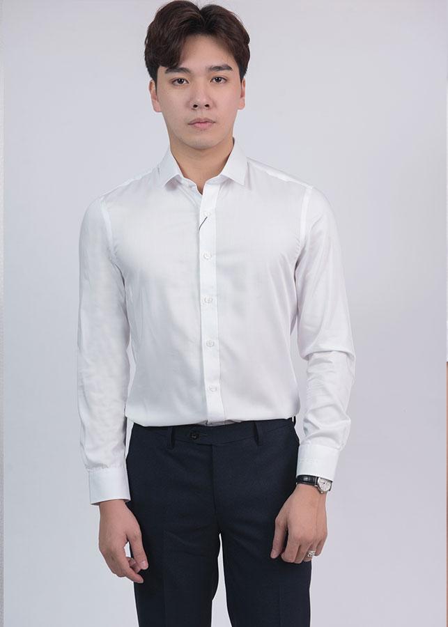Áo sơ mi trắng họa tiết Nam Cardino Việt Nam H119ASMD032