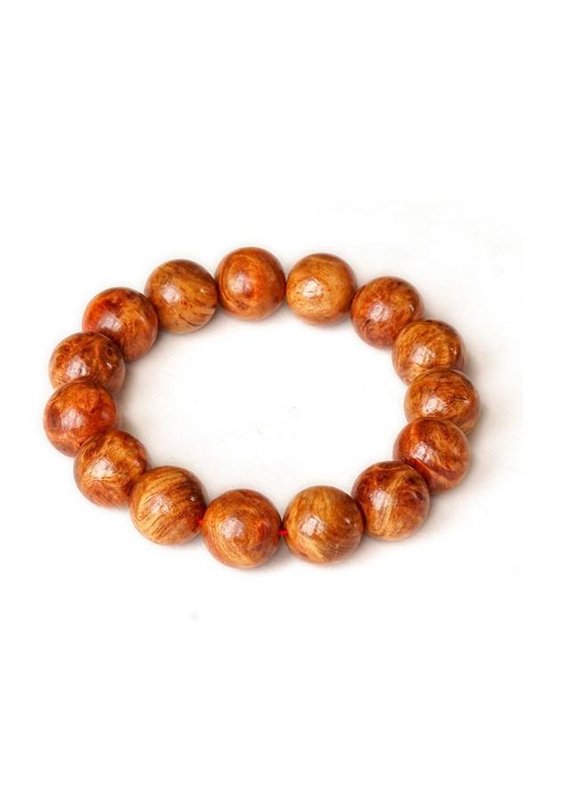 Vòng tay nu huyết long hạt tròn 14mm - Màu nâu đỏ