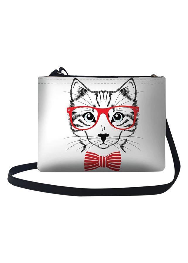 Túi Đeo Chéo Nữ In Hình Mèo Đeo Kính Đỏ - TUCT257 (24 x 17 cm)