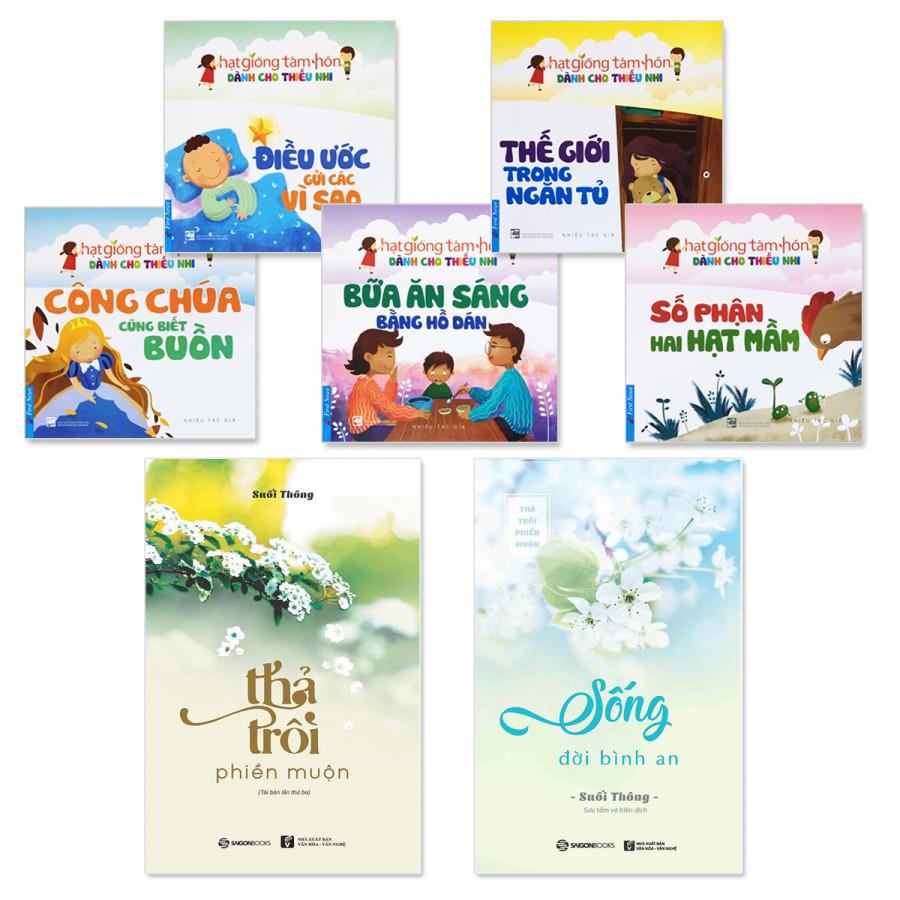 Combo sách gia đình: Thả Trôi Phiền Muộn, Sống Đời Bình An, Bộ truyện thiếu nhi Hạt Giống Tâm Hồn (5 tập)