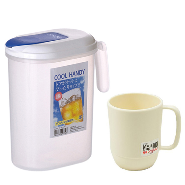 Combo Bình đựng nước có quai Cool Handy 1.8L + Cốc nhựa uống nước màu trắng ngà cao cấp nội địa Nhật Bản