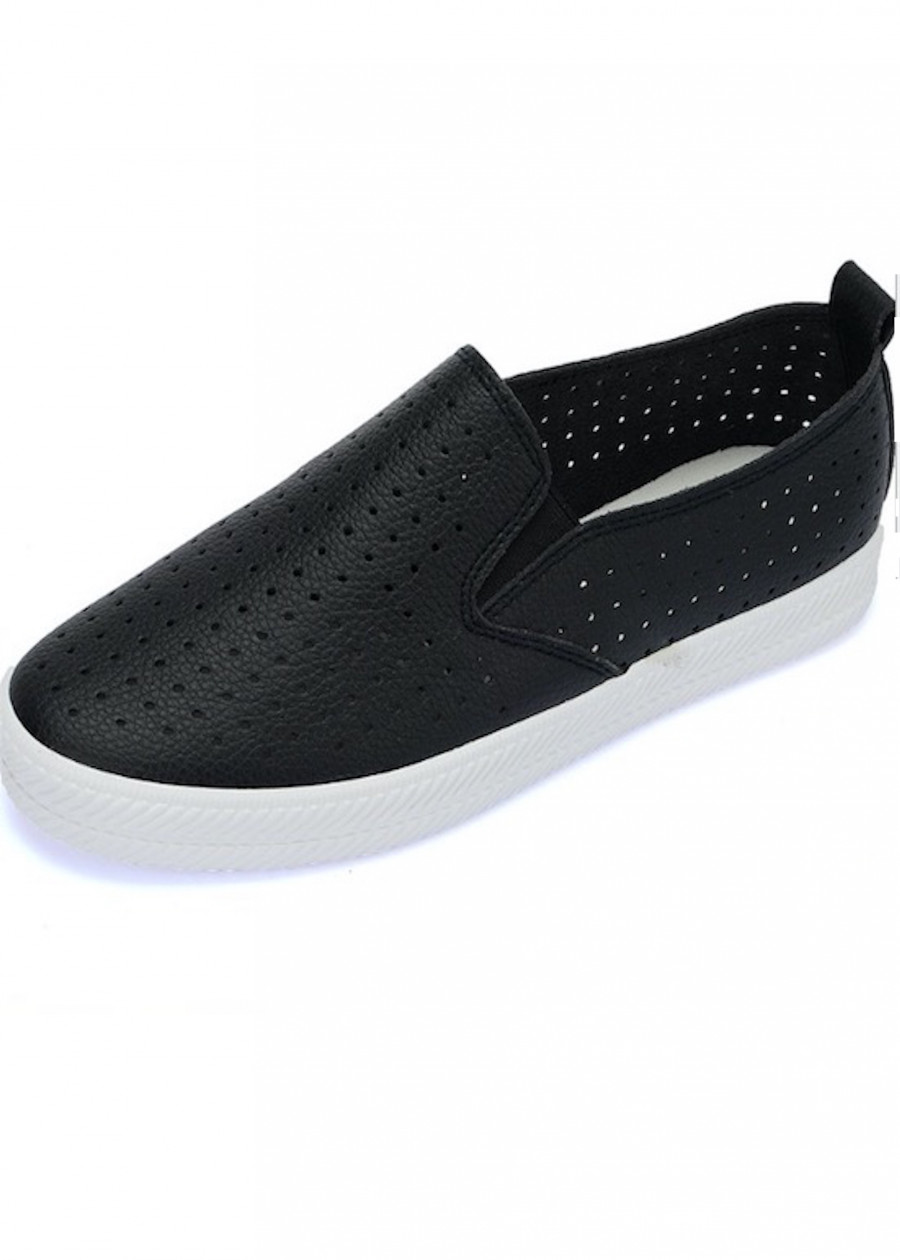 Giày slip on da mềm nhẹ màu đen SLO9033