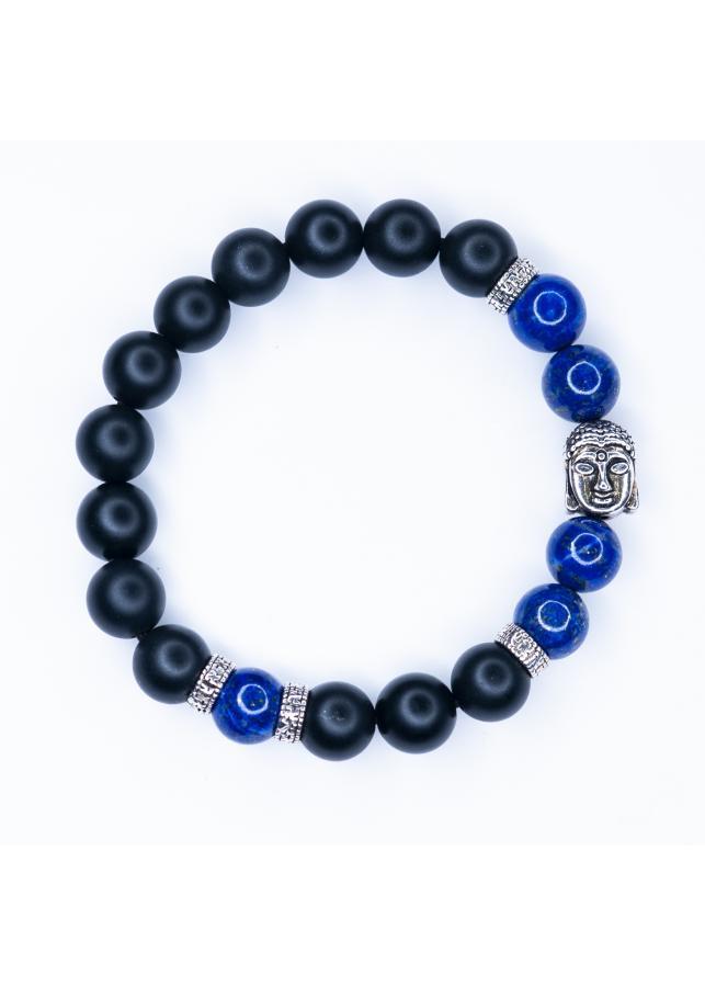 Vòng tay đá Obsidian 8mm mix lapis lazuli mix charm Phật bạc thái BRBO08M01 - VietGemstones