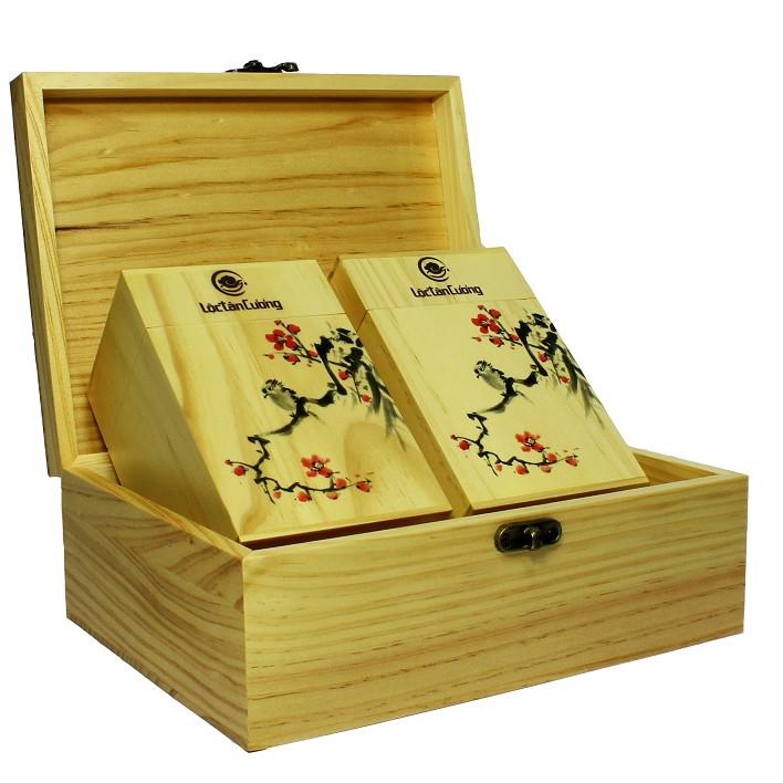 Hộp quà tặng tết Vạn Xuân Gỗ Trà Lộc Tân Cương - Trà Nõn Tôm Thái Nguyên 200g