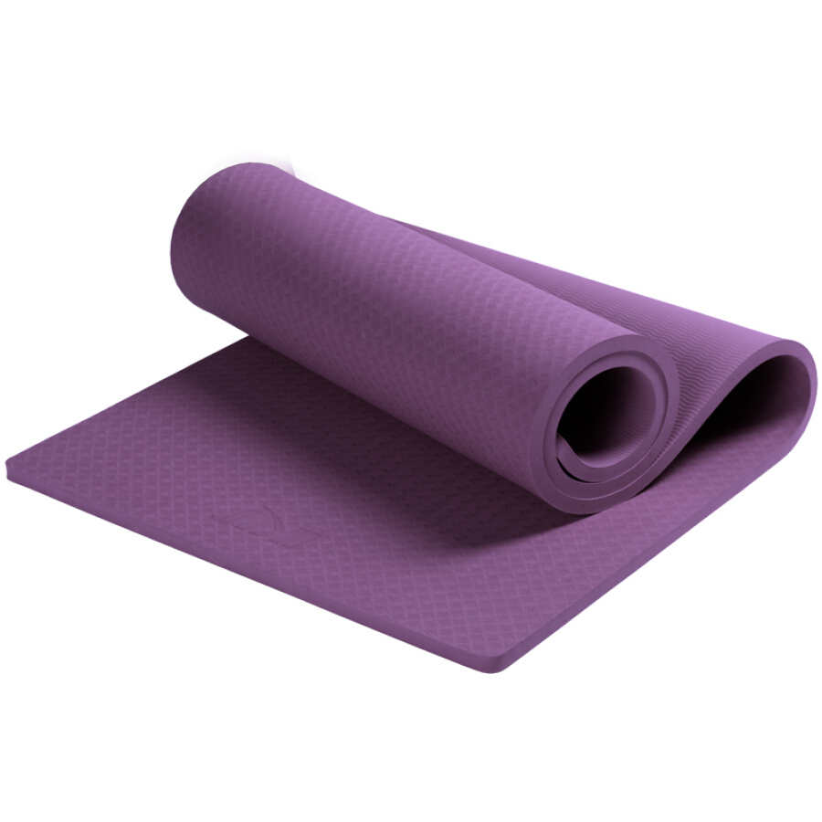 IKU non-slip thickening yoga mat 15mm double thickness TPE flat support sit-up seat cushion deep purple