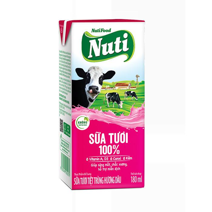 Bộ 4 hộp sữa tươi tiệt trùng 100% hương dâu Nutifood 180ml