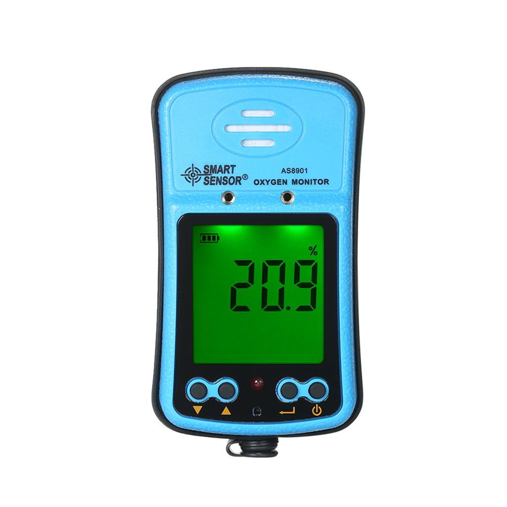 Máy Đo Khí Oxy, Khí Gas Màn Hình Kĩ Thuật Số Và Ánh Sáng Rung Báo Động Smart Sensor Xanh Hồ (100-240V)