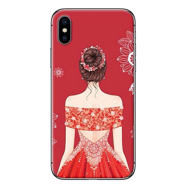 Ốp lưng dành cho điện thoại iPhone XR - X/XS - XS MAX - Cô gái váy đỏ áo xẻ vai