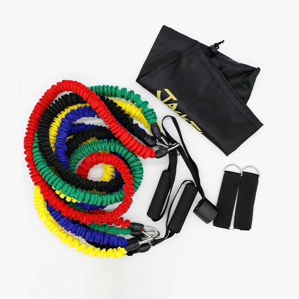 Dây đàn hồi tập Gym PRO-ZD11, bộ dây tập thể lực 5 màu - Bộ 11 chi tiết 100LB cao cấp - POKI