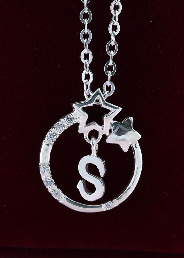 Dây chuyền bạc nữ mặt trăng sao khắc tên chữ S DCN0286