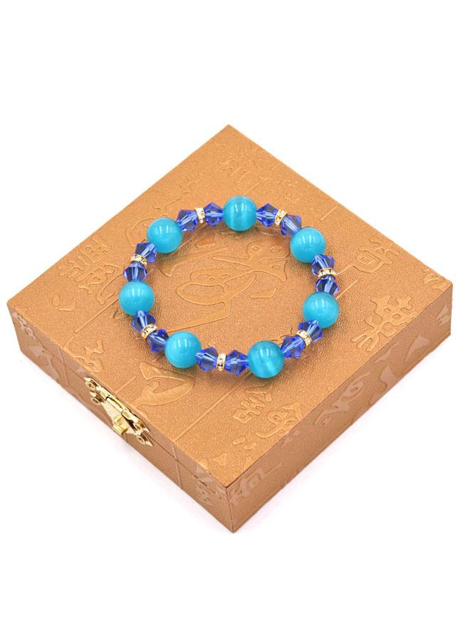 Vòng đeo tay chuỗi hạt đá mắt mèo xanh 12 ly FTHXX2 kèm hộp gỗ