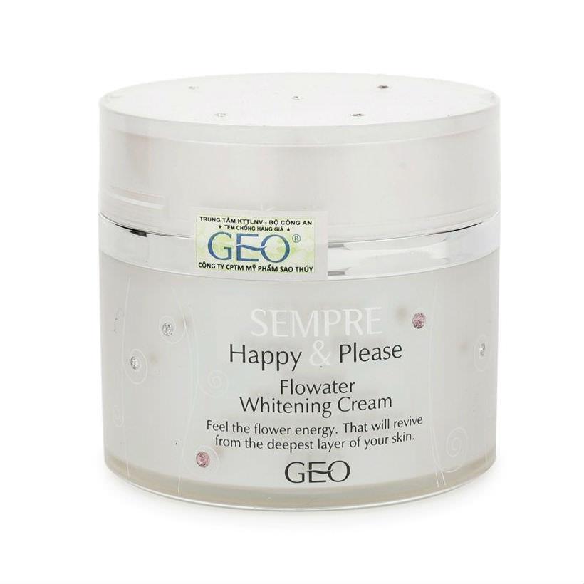 Kem Dưỡng Trắng Da Sempre Happy  Please Flowater Whitening Cream Geo (50g)