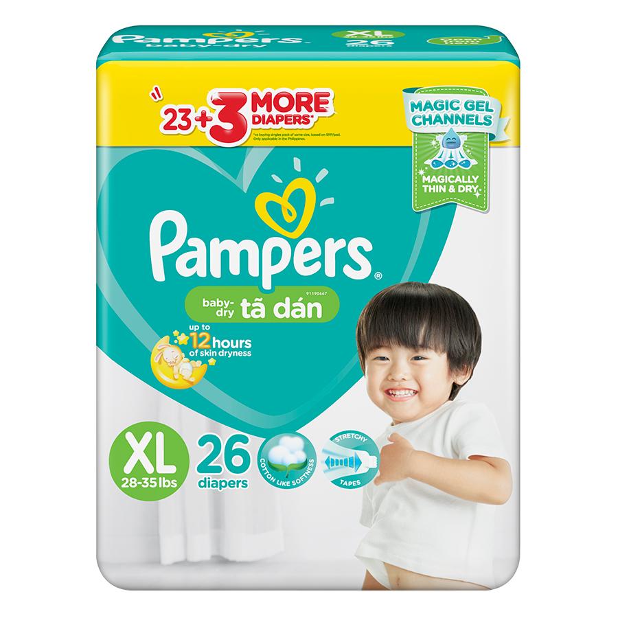 Tã Dán Pampers Baby Dry Gói Đại XL26 (26 Miếng) - 799721 , 6878080810093 , 62_13593800 , 307000 , Ta-Dan-Pampers-Baby-Dry-Goi-Dai-XL26-26-Mieng-62_13593800 , tiki.vn , Tã Dán Pampers Baby Dry Gói Đại XL26 (26 Miếng)