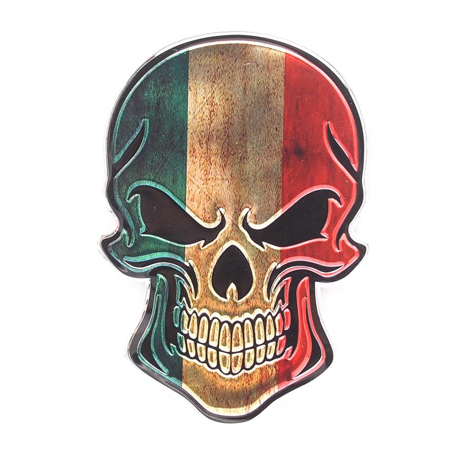 Sticker hình dán metal Đầu Lâu cờ Ý Italia