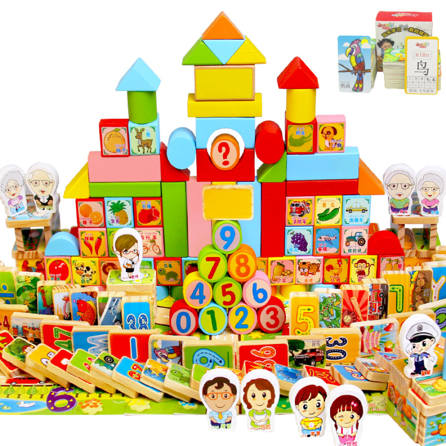 Bộ Trò Chơi Giáo Dục Trẻ Em Dan Ni Qi Te 200 Mảnh (150 khối +50 thẻ)