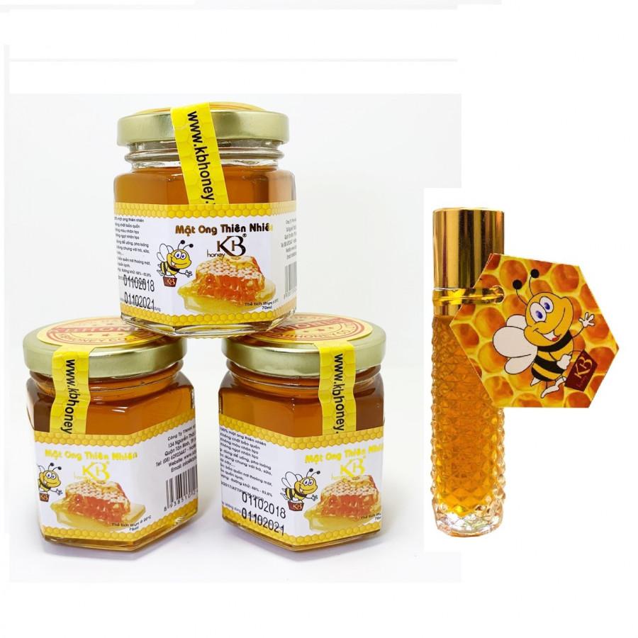 Combo 3 lọ mật ong rừng nguyên chất KB 70ml/Lọ tặng thỏi mật ong dưỡng môi KB 10ml