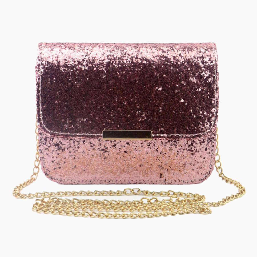 New Fashion Women Sequin Shoulder Bag Shiny Glitter Chain Bag Pu Leather Flap Party Crossbody Bag