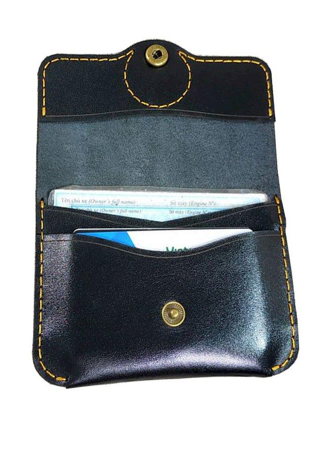 Ví da nam mini đựng giấy tờ, thẻ ATM da bò cao cấp (Đen)