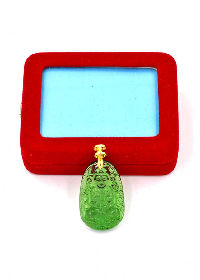 Mặt phật Thiên Thủ Thiên Nhãn thủy tinh xanh lá 3.6cm kèm hộp nhung