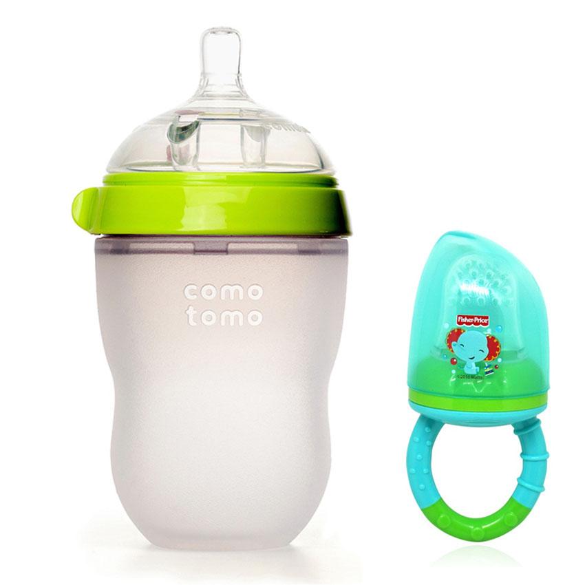 Bình Sữa Comotomo 250ml Cho Bé Tặng Kèm Túi Nhai Chống Hóc Fisher Price