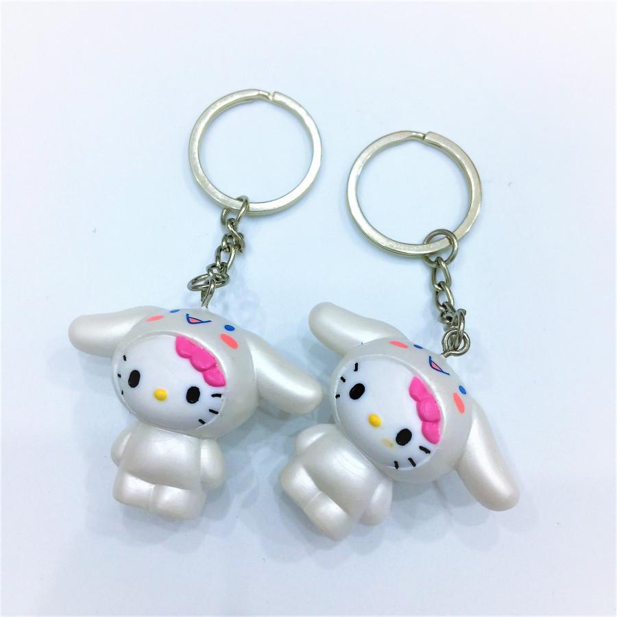 Combo 2 móc khóa hình mèo tai thỏ trắng đáng yêu - COUPLE