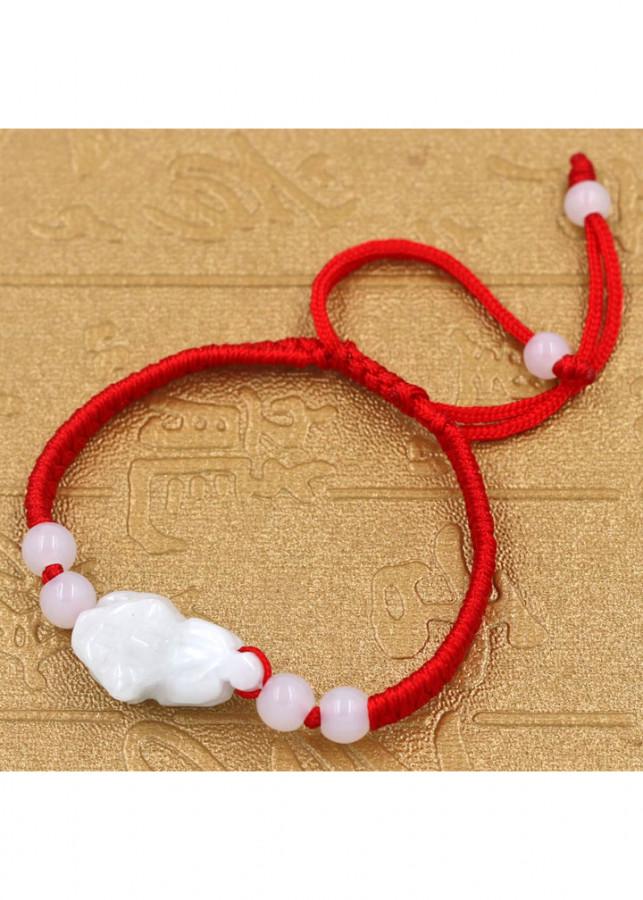 Vòng đeo tay tết dây cẩn Tỳ hưu thạch anh trắng TD1 - Vòng tay chỉ đỏ may mắn